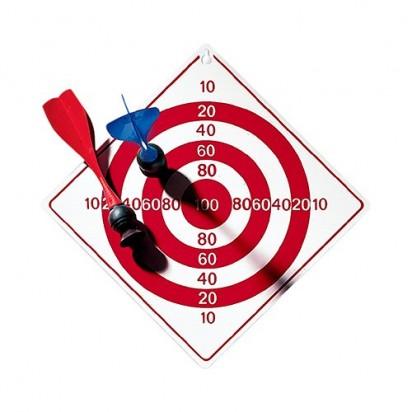 Dartspiel Vacuum, Scheibe weiß, Zielscheibendruck rot