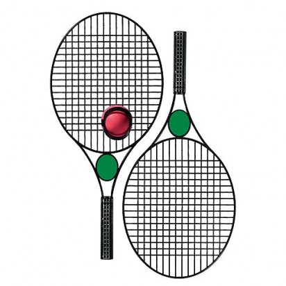 Tennis-Set Pro Black Star, schwarz, Werbefeld grün