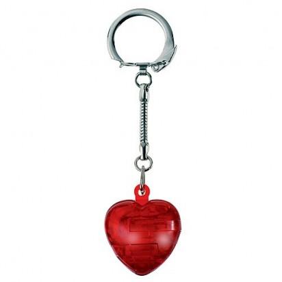Schlüsselanhänger Knobel-Herz, transparent-rot