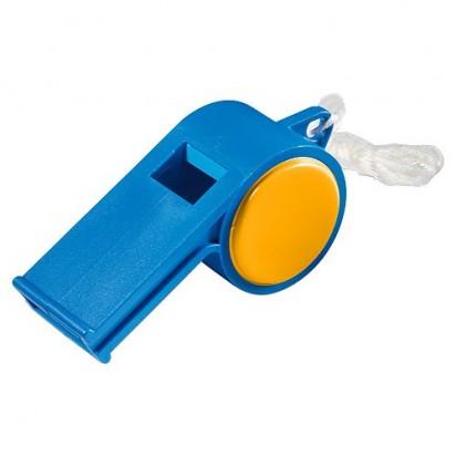 Trillerpfeife Sport mit Kordel, blau/orange