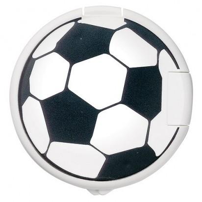 Mint-Spender Rund Vivil, weiß, Fussball-Druck