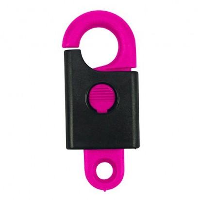 Schlüsselanhänger Safety, Haken neon-pink/Gehäuse schwarz