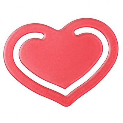 Papierklammer Herz, transparent-rot