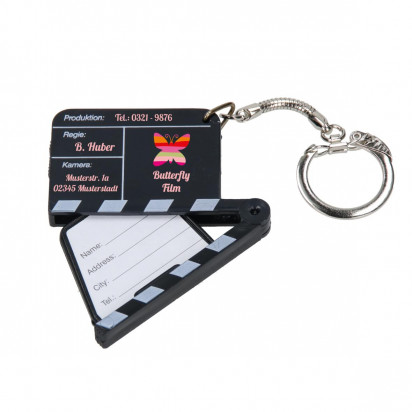 Schlüsselanhänger Adress-Filmklappe, schwarz