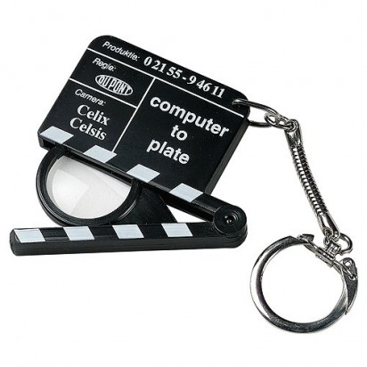 Schlüsselanhänger Lupen-Filmklappe