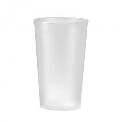 Trinkbecher Mehrweg 0,4 l, transparent-milchig