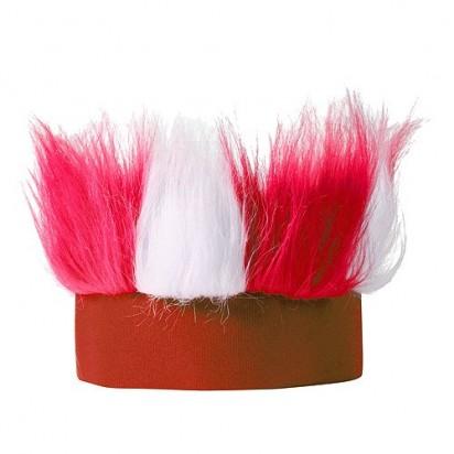 Stirnband Hairy, weiß/rot