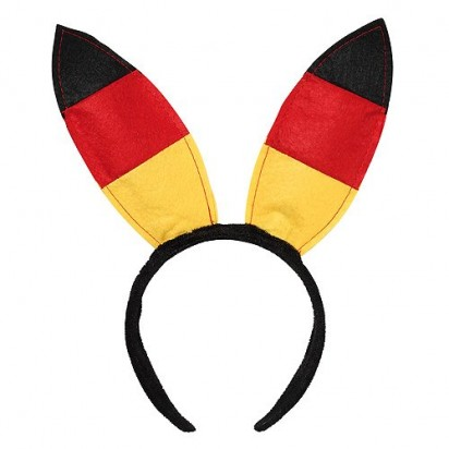 Haarreif Bunny, schwarz/rot/gelb