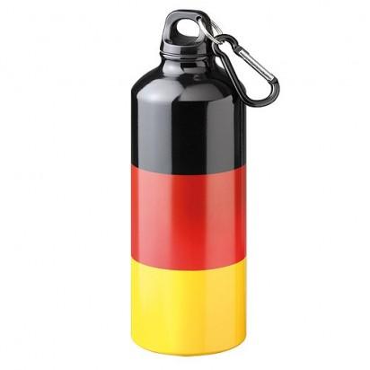 Aluminiumflasche Sporty Nation, schwarz/rot/gelb
