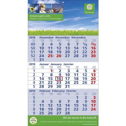 3-Monats-Wandkalender Standard 2 plus, 3-sprachig