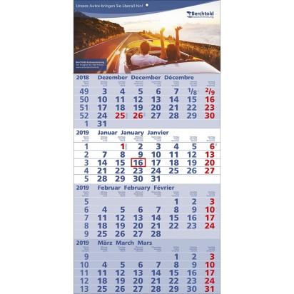 4-Monats-Wandkalender Quattro, 3-sprachig