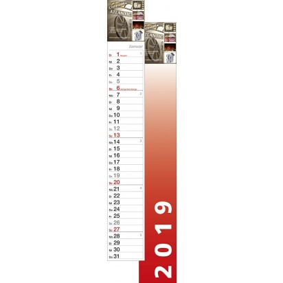 Streifenkalender S-700, 1-sprachig, 70,0 cm lang