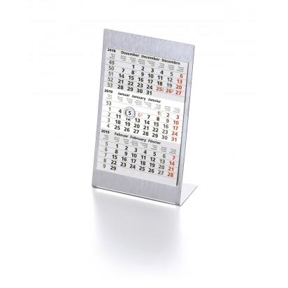 Tischkalender Edelstahl, 3-sprachig (D, GB, F), 1 Jahr