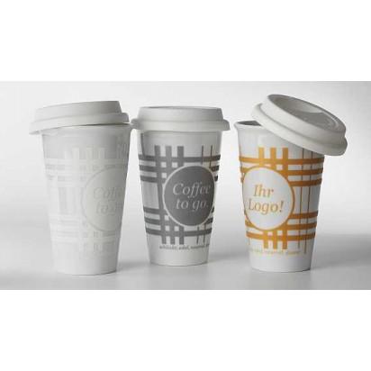 Porzellanbecher Coffee to go, 3-farbig bedruckt