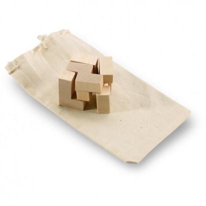Holzpuzzle im Baumwollbeutel