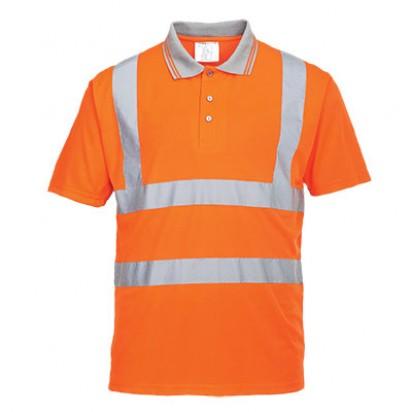 Kurzarm Warnschutz Poloshirt GO/RT