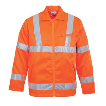 Warnschutz Jacke aus Polyester Baumwolle GO/RT