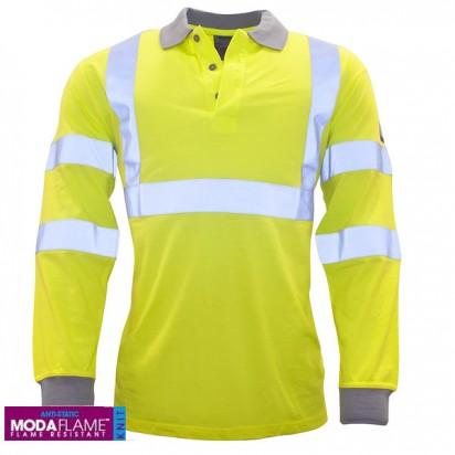 Warnschutz Langarm Polo-Shirt  Gelb