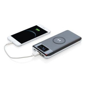 10.000 mAh Powerbank mit Wireless 5W charger, schwarz